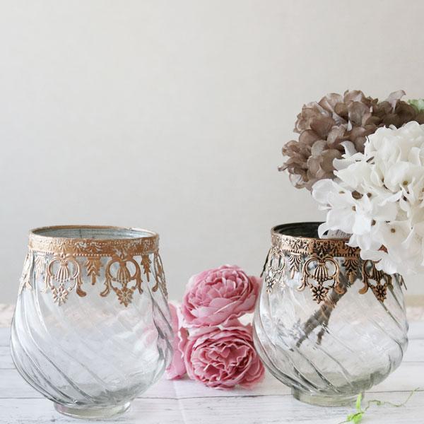 花びん ガラス製 アンティーク風 シャビー アイアン オブジェ